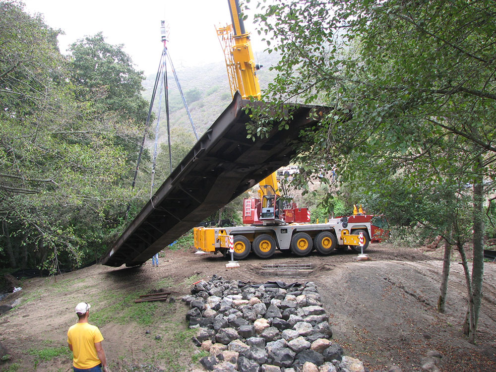 Frenchman's Creek habitat restoration project - new bridge installation